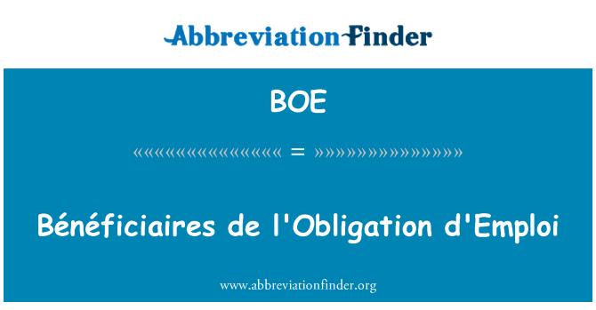 BOE: Bénéficiaires de l'Obligation d'Emploi