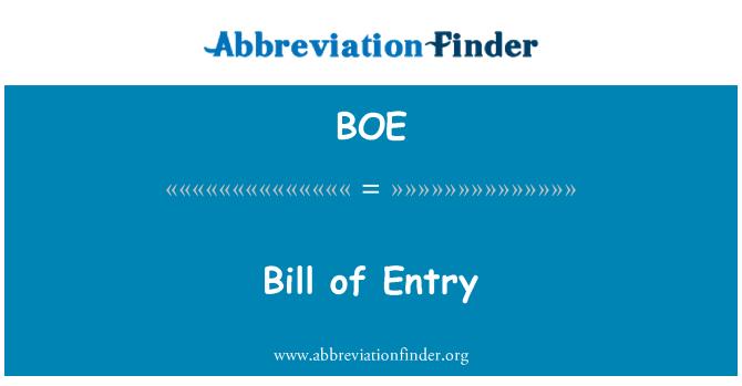 BOE: Bill of Entry
