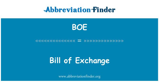 BOE: Bill of Exchange
