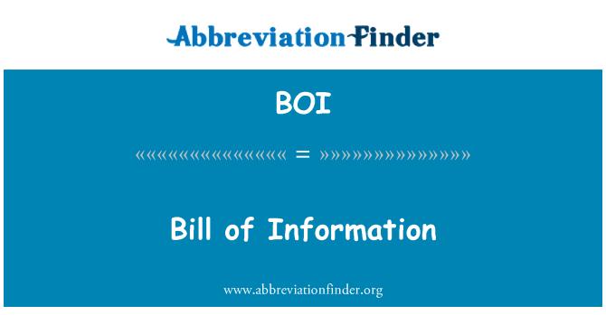 BOI: Bill of Information