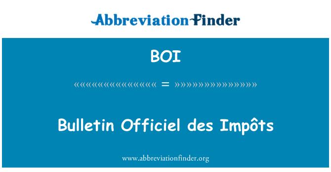 BOI: Bulletin Officiel des Impôts