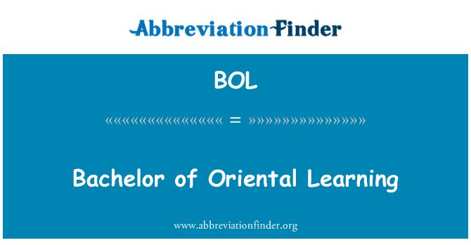BOL: Bachelor of Oriental Learning