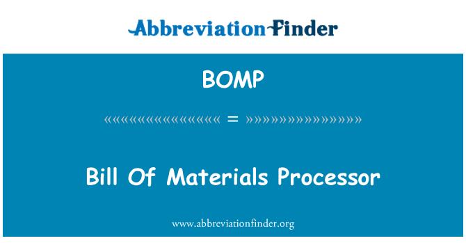 BOMP: Lista de materiales procesador