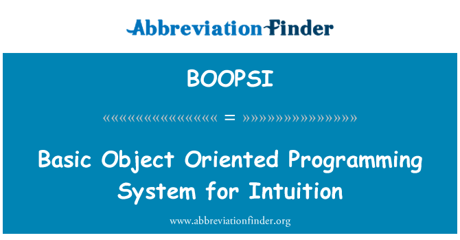 BOOPSI: Basic Object Oriented Programming System for Intuition
