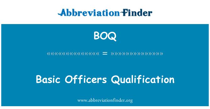 BOQ: Basic Officers Qualification