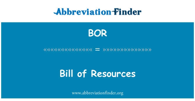 BOR: Bill of Resources