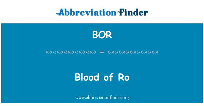 BOR: Blood of Ro