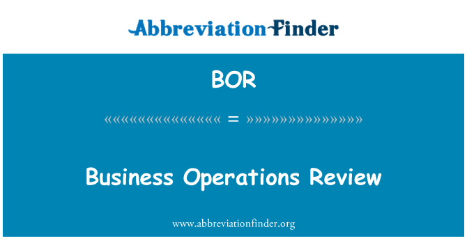 BOR: Business Operations Review