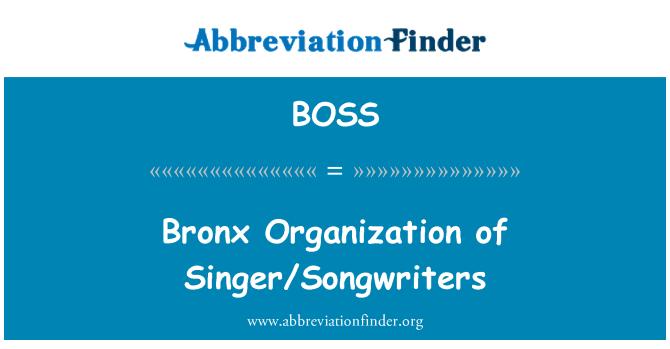 BOSS: 布朗克斯区组织的歌手和词作者