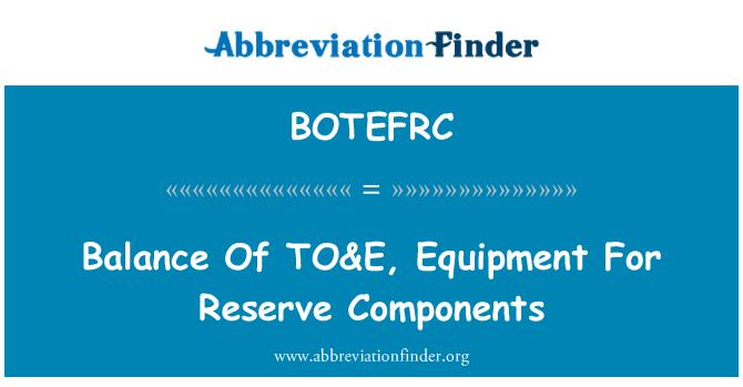 BOTEFRC: Saldo al & E, equipos para reservar los componentes