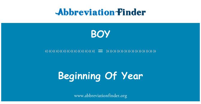 BOY: Beginning Of Year
