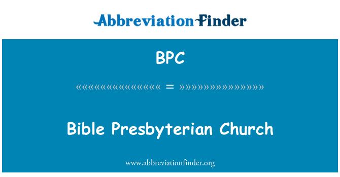 BPC: Bible Presbyterian Church