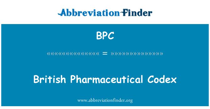 BPC: British Pharmaceutical Codex