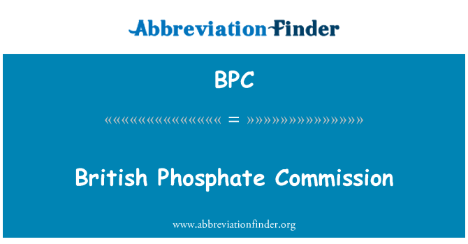 BPC: British Phosphate Commission