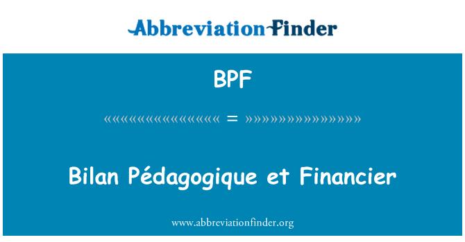 BPF: Bilan Pédagogique et Financier