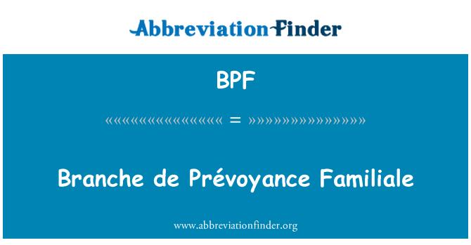 BPF: Branche de Prévoyance Familiale