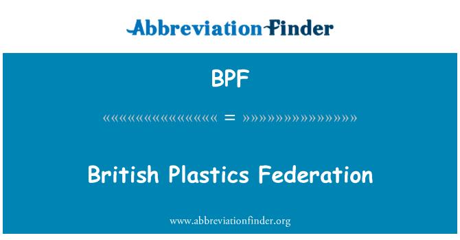 BPF: British Plastics Federation