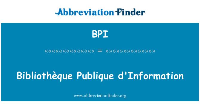 BPI: Bibliothèque Publique d'Information