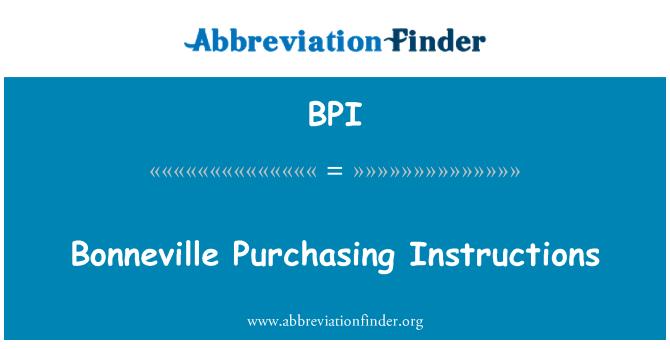 BPI: Bonneville Purchasing Instructions