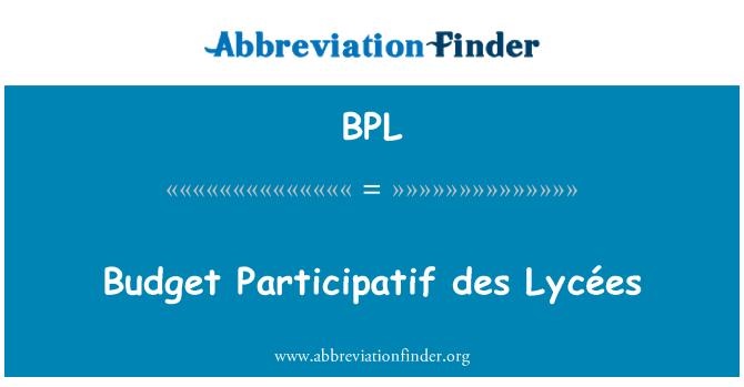 BPL: Budget Participatif des Lycées