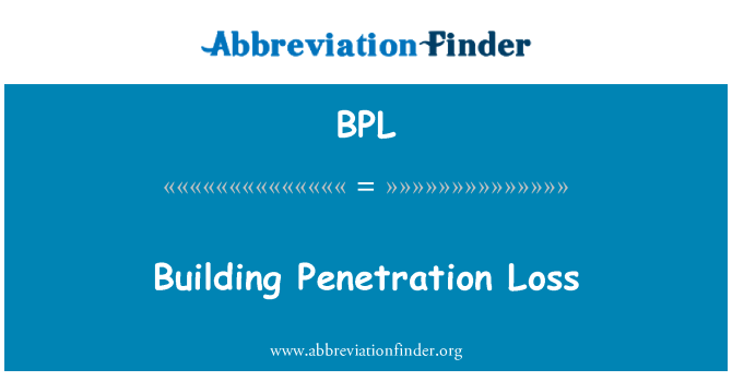 BPL: Building Penetration Loss