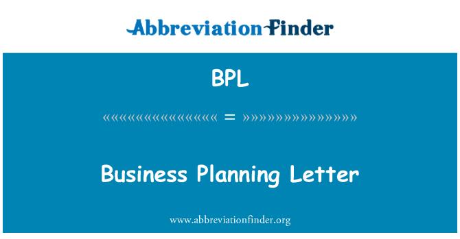 BPL: Business Planning Letter