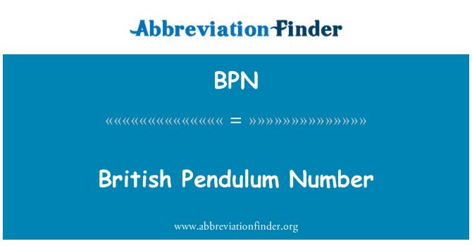 BPN: British Pendulum Number