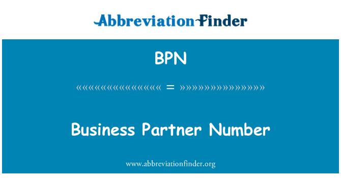 BPN: Business Partner Number