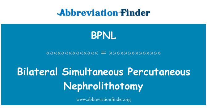 BPNL: Bilateral Simultaneous Percutaneous Nephrolithotomy