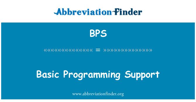 BPS: Basic Programming Support