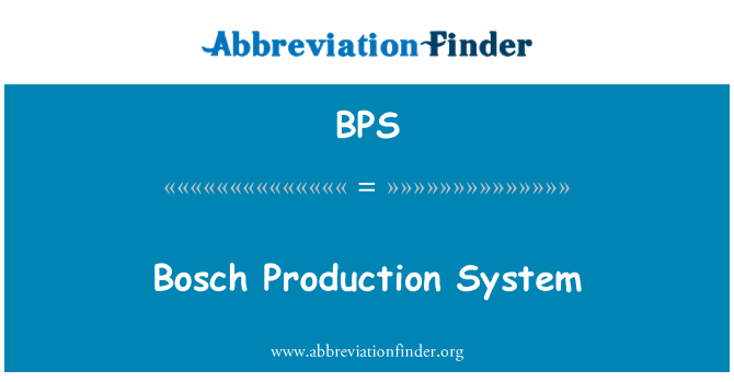 BPS: Bosch Production System