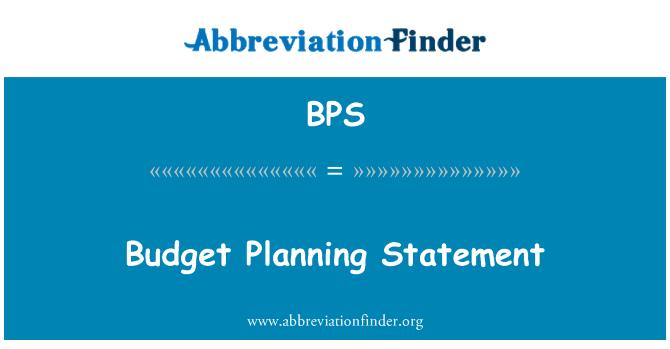 BPS: Budget Planning Statement