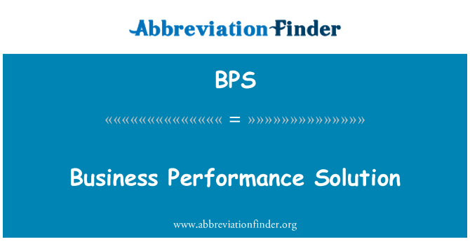 BPS: Business Performance Solution