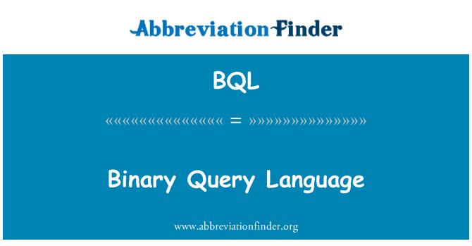 BQL: Binary Query Language