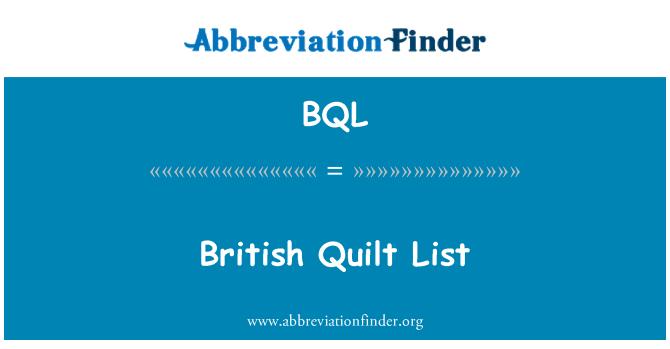 BQL: British Quilt List