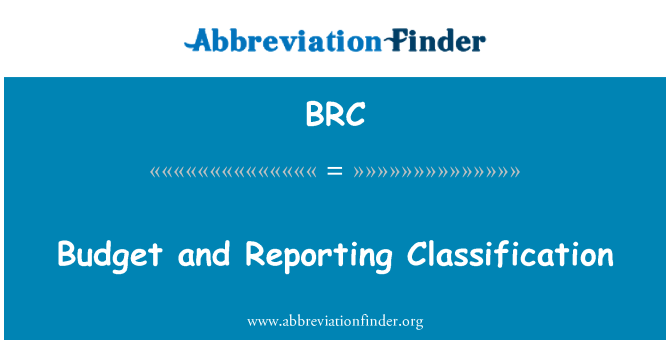BRC: Budget and Reporting Classification