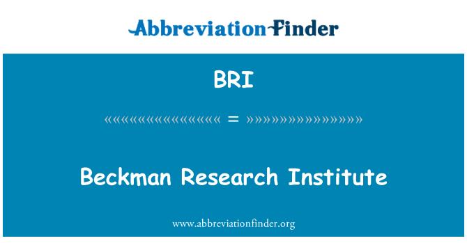 BRI: Beckman Research Institute