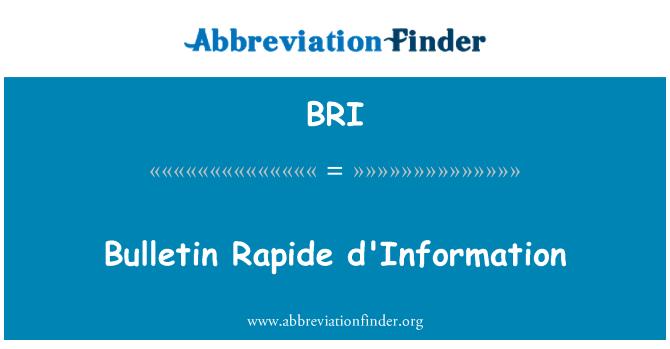 BRI: Bulletin Rapide d'Information
