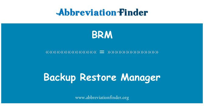 BRM: Backup Restore Manager