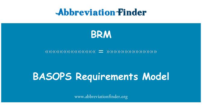 BRM: BASOPS Requirements Model