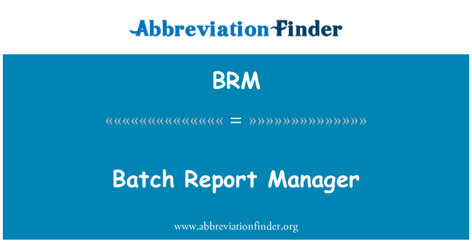 BRM: Batch Report Manager
