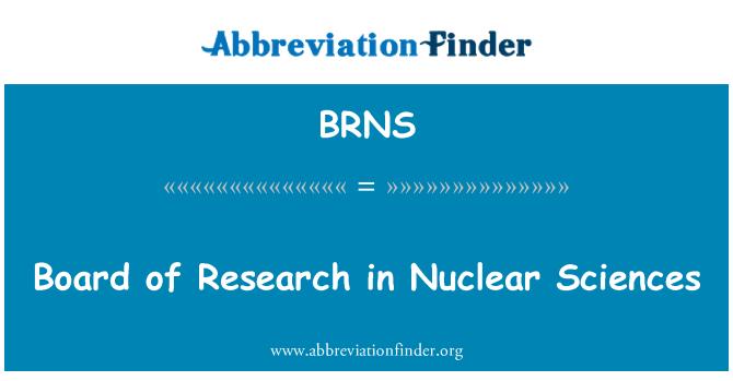 BRNS: Consejo de investigación en Ciencias nucleares