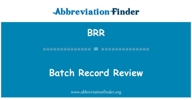BRR: Batch Record Review