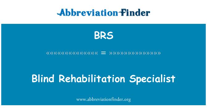 BRS: Blind Rehabilitation Specialist