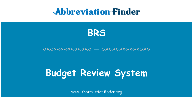 BRS: Budget Review System