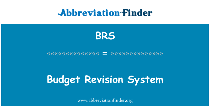 BRS: Budget Revision System