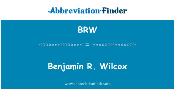 BRW: Benjamin R. Wilcox