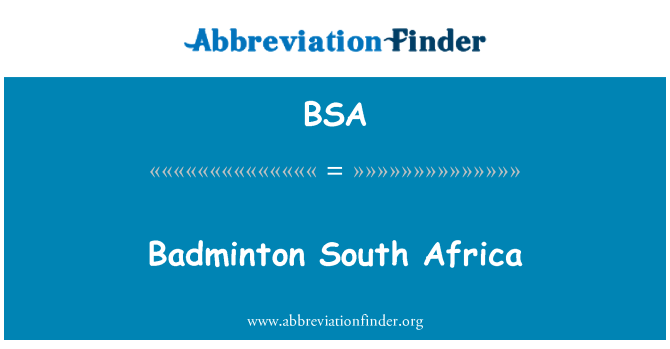 BSA: Badminton South Africa