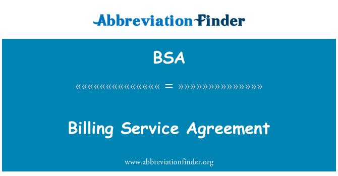 BSA: Billing Service Agreement