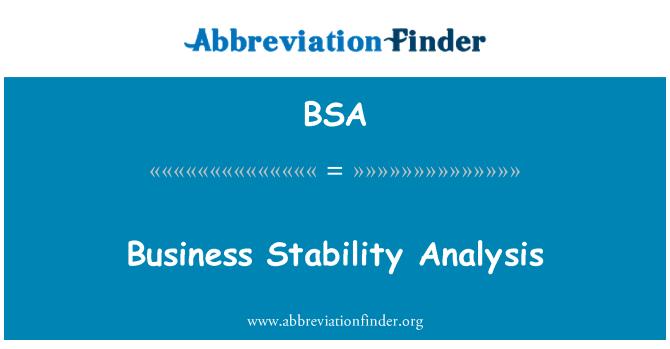 BSA: Business Stability Analysis